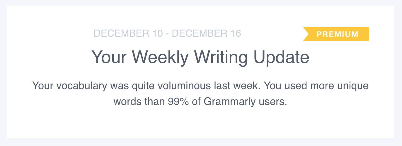 My Grammarly Writing Update 2018-12-24