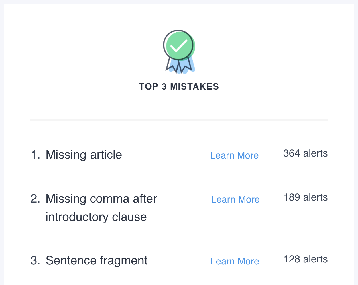 Top 3 Grammar Mistakes in Work Checked with Grammarly the week of 2018-12-24