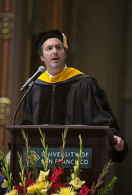 Jon Fisher delivering USF commencement address